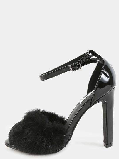 Patent Faux Fur Strap Heels BLACK