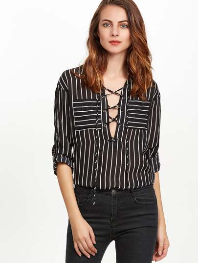 Black And White Striped Lace Up Equipment Blouse