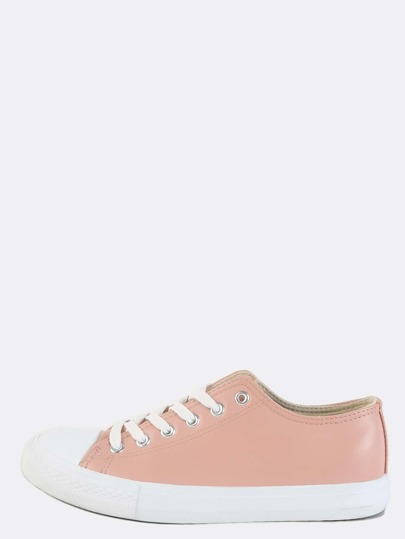Round Toe Faux Leather Sneakers BLUSH