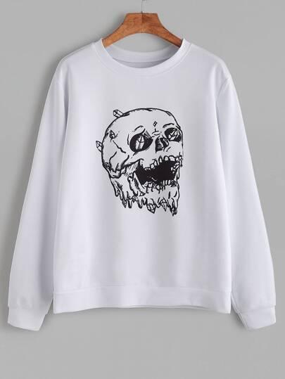 White Skull Print Casual Sweatshirt