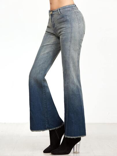 Ombre Raw Hem Flare Jeans