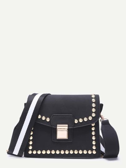 Black Stylish Studded Trim Flap Leather Shoulder Bag