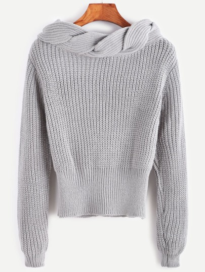 Grey Twisted Knit Trim Sweater