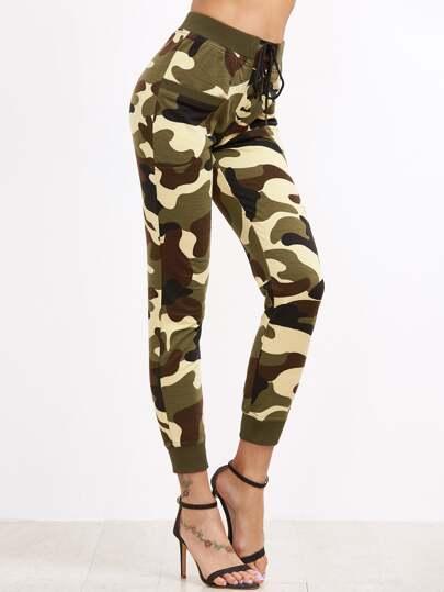 Pantalons de survêtement moulant imprimé camo -vert olive