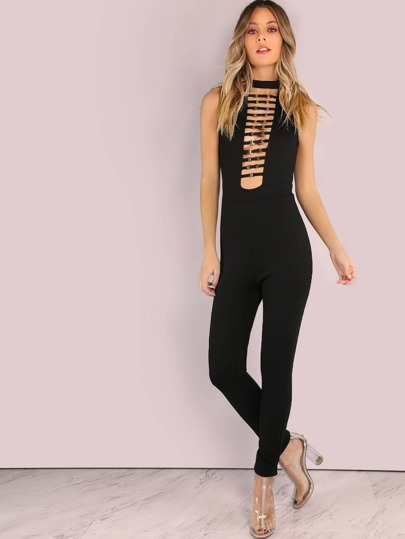 Plunging Buckle Front Skinny Jumpsuit BLACK