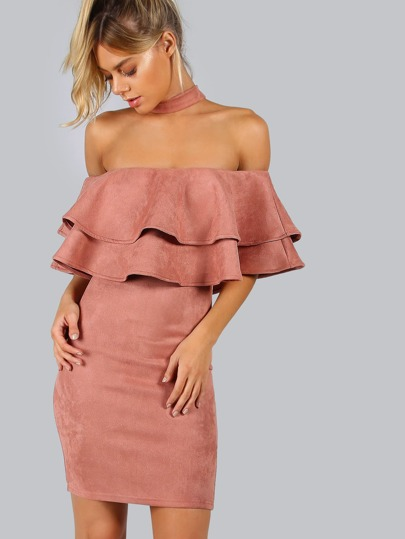 Pink Suede Choker Neck Layered Ruffle Dress