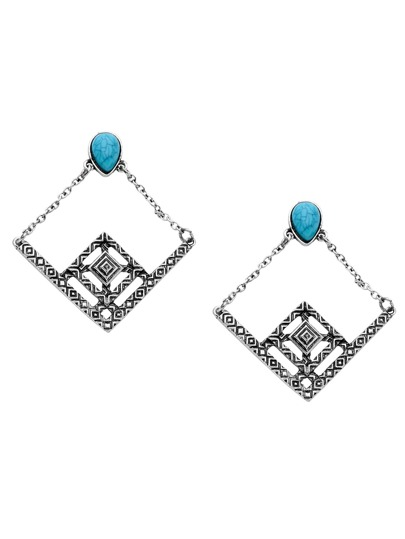 Antique Silver Turquoise Geometric Hollow Out Drop Earrings