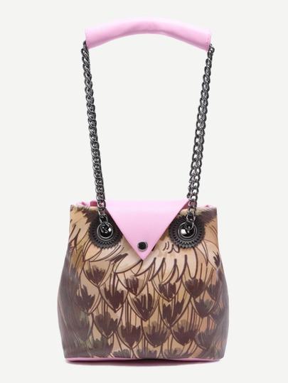 Pink Night Owl Design Button Closure Chain Strap Tote Bag