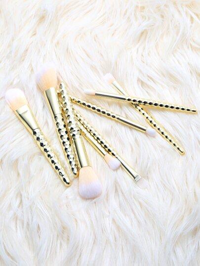 Gold Hexagon Wrap Makeup Brush Set 8Pcs