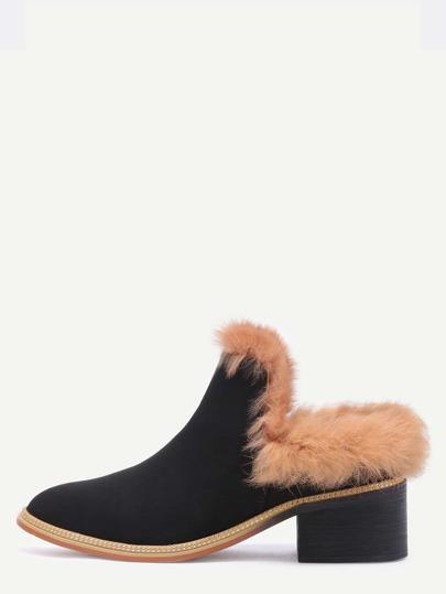 Black Faux Fur Lined Suede Mules