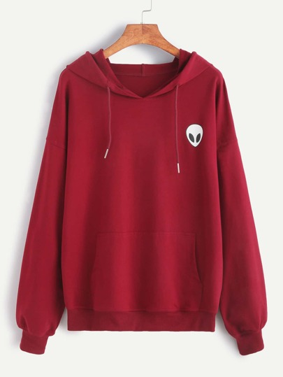 Burgundy Alien Print Pocket Front Drop Shoulder Hoodie