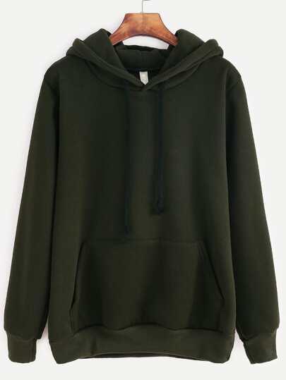 Dark Green Hooded Pocket Sweatshirt