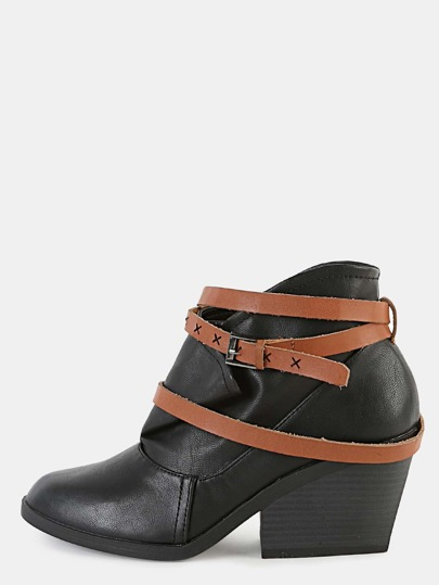 Wrap Pointy Toe Ankle Boots BLACK