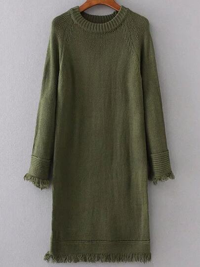Green Raglan Sleeve Fringe Trim Sweater Dress