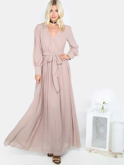 Khaki Flowy Gathered Maxi Dress
