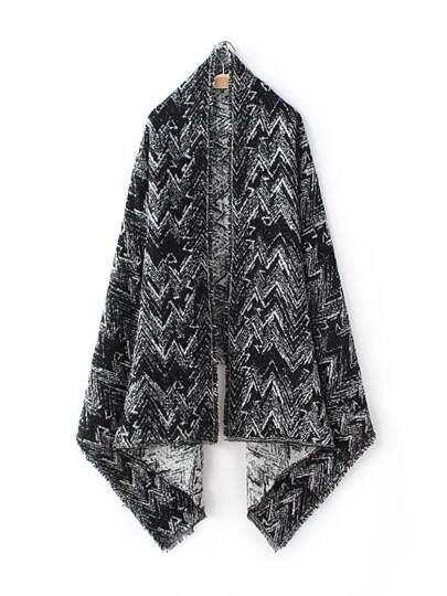 Чёрный шарф шалью с принтом