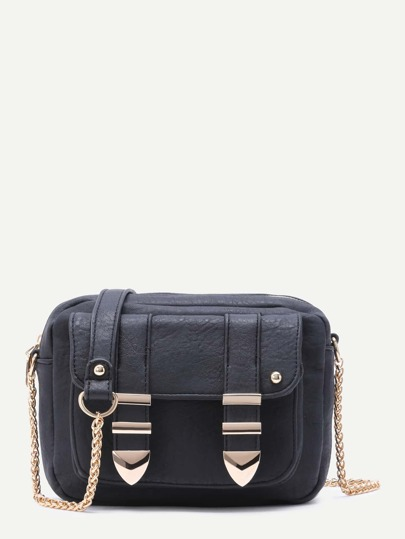 Black Front Pocket Faux Leather Crossbody Chain Bag