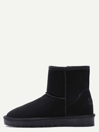Black Suede Fur Lined Flat Snow Boots