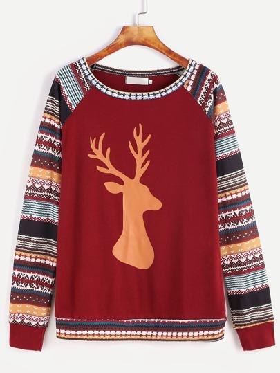 Burgundy Contrast Raglan Sleeve Christmas Print Sweatshirt