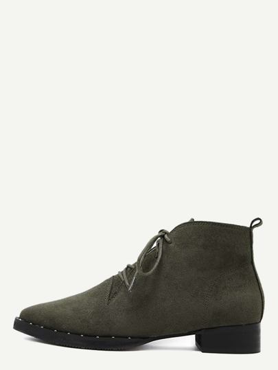 Chaussures bout pointu en suédine avec dentelle - vert