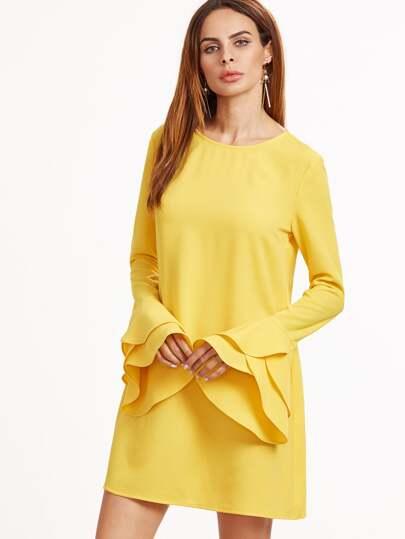 Vestito Maniche Increspate A Strati - Giallo