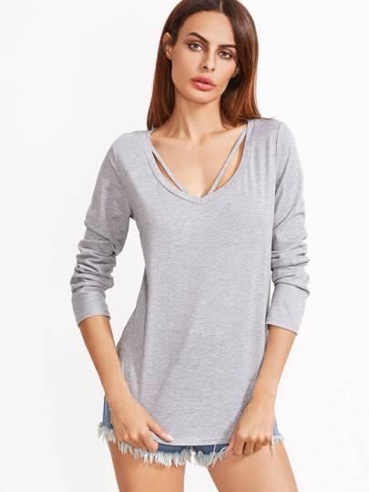 T-shirt à lanières ourlet courbé -gris bruyère