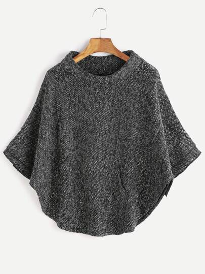 Dark Grey Turtleneck Poncho Sweater