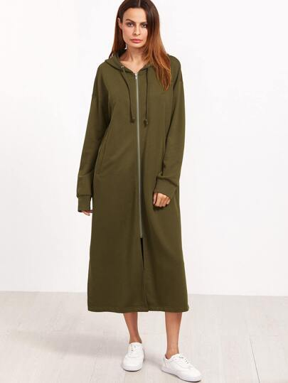 Army Green Letter Print Zipper Front Longline Hoodie
