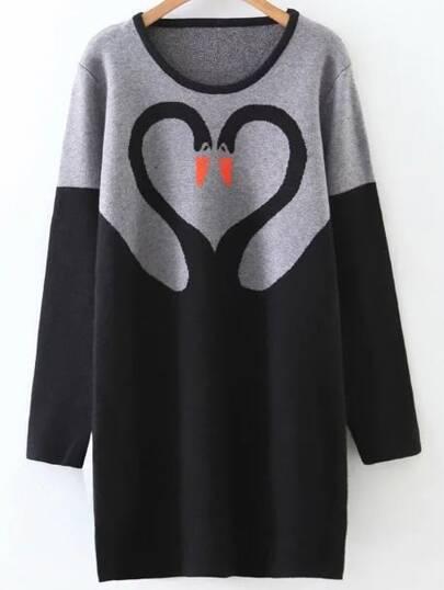 Color Block Swan Pattern Sweater Dress