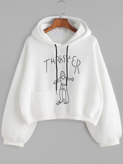 White Drawing Print Drop Shoulder Hooded Sweatshirt