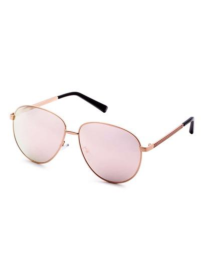 Metal Frame Rose Gold Lens Retro Style Sunglasses