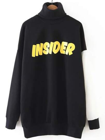 Black Color Block Letter Print Turtleneck Sweatshirt