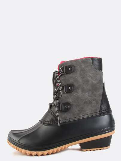 Lace Up Fleece Duck Boots GREY