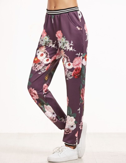 Purple Flower Print Striped Trim Pants