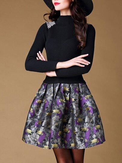 Black Knit Birds Print Combo Dress