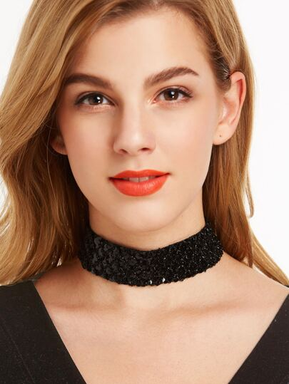 Glitter Sequin Black Wide Choker