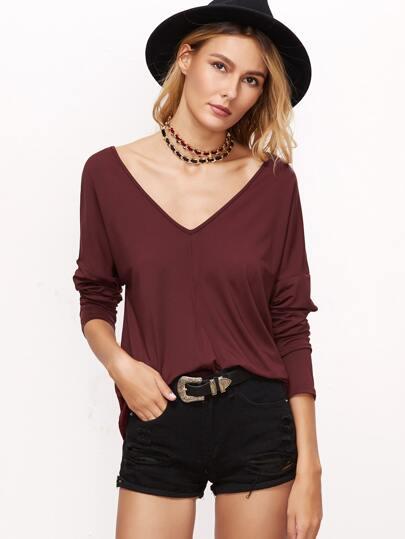 T-shirt mit Doppelt V-Ausschnitt Drop Schulter-burgund rot