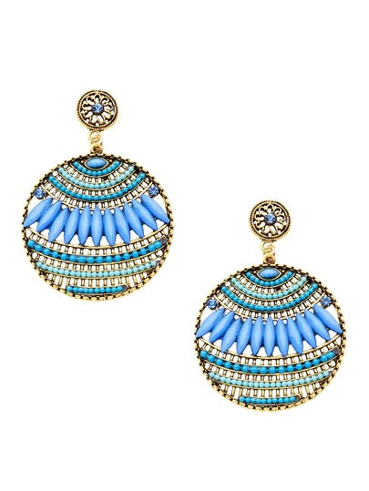 Sky Blue Round Vintage Hollow Out Statement Drop Earrings