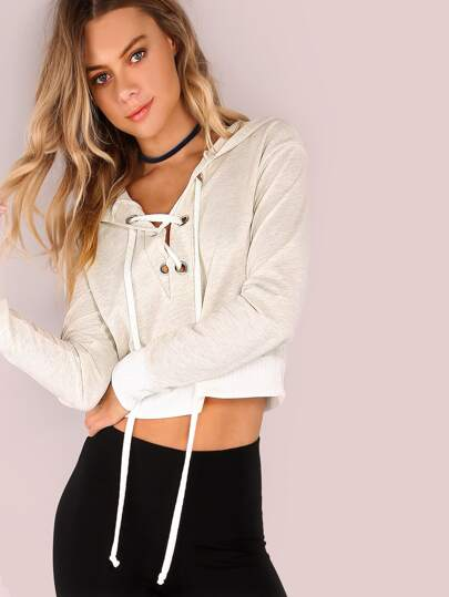 Lightweight Lace Up Crop Hoodie OATMEAL
