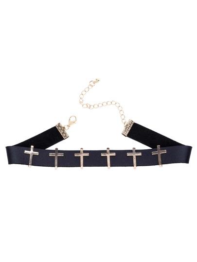Collier en ruban noir avec croix - doré