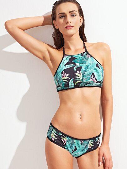 Turquoise Contrast Tropic Print Halter Bikini Set
