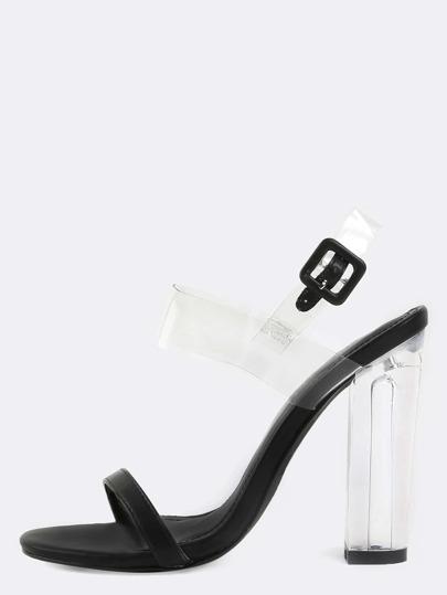 Open Toe Clear Strap Perspex Heels BLACK