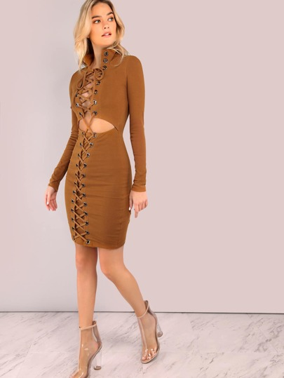 Fully Strapped Sleeved Turtleneck Peakaboo Dress MUSTARD