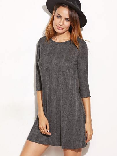 Grey Ribbed Knit 3/4 Sleeve Tee Dress