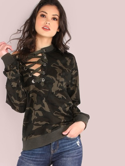 French Terry Camo Lace Up Pullover