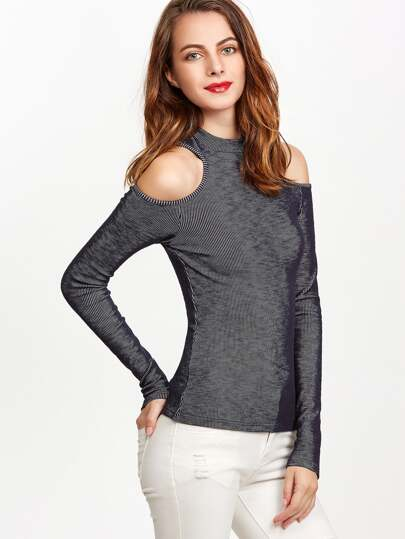 Navy Ribbed Knit Open Shoulder T-shirt