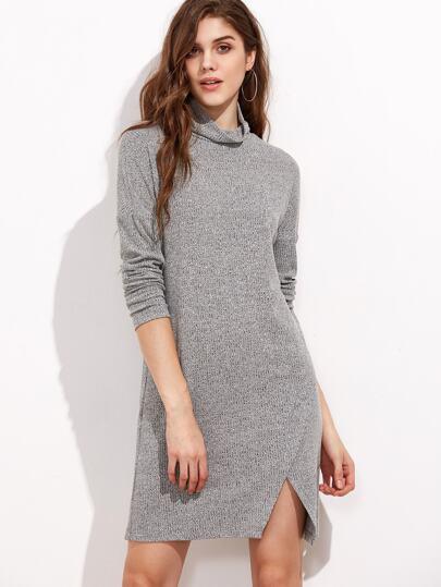 Robe tricot marleté à nervures à col roulé -gris