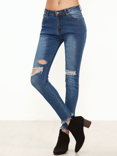 Blue Knee Ripped Frayed Hem Skinny Jeans