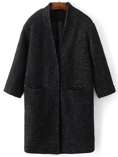 Abrigo de mezcla de lana con botón oculto - negro