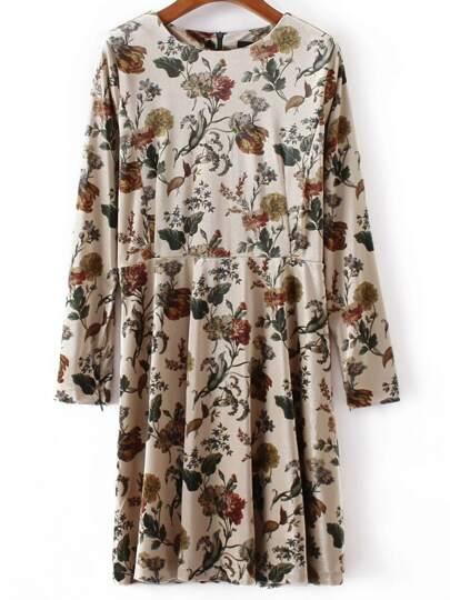 Apricot Floral Print Velvet Dress
